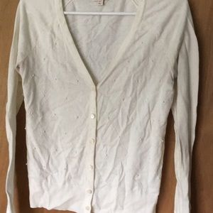 Cream cardigan with pearl detail, merona size sm